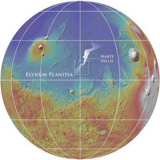 The location of the ~ 1000 km Marte Vallis channel system on Mars. Marte Vallis is filled with young lavas obscuring the source and morphology of the channels. The dashed box highlights the area shown in Fig. 2. The background shows the global topography of Mars (MOLA colorized elevation above a MOLA hillshade image). (Credit: NASA/MOLA Team/Smithsonian)
