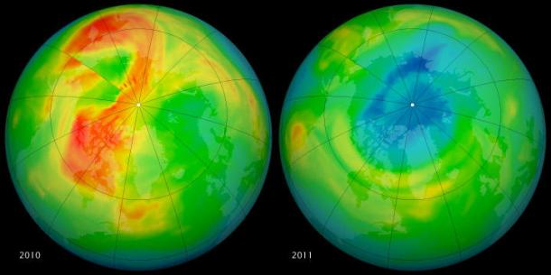 Maps of ozone concentrations over the Arctic come from the Ozone Monitoring Instrument (OMI) on NASA's Aura satellite. The left image shows March 19, 2010, and the right shows the same date in 2011. March 2010 had relatively high ozone, while March 2011 has low levels. (Credit: NASA/Goddard)