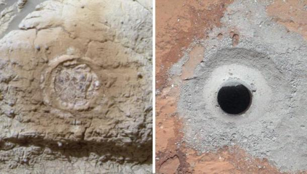 Studying Habitability in Ancient Martian Environments: This set of images shows the results from the rock abrasion tool from NASA's Mars Exploration Rover Opportunity (left) and the drill from NASA's Curiosity rover (right). (Credit: NASA/JPL-Caltech/Cornell/MSSS)