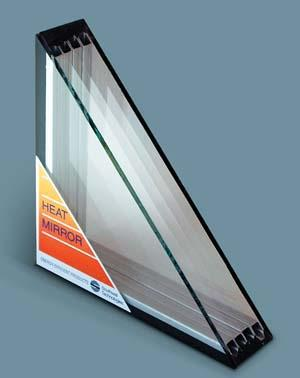 Heat Mirror insulating glass boasts an R–20 insulating value—the equivalent of a 0.05 U-value. It includes heat-reflective films, insulating glass, and low-E coating. Southwall Technologies.