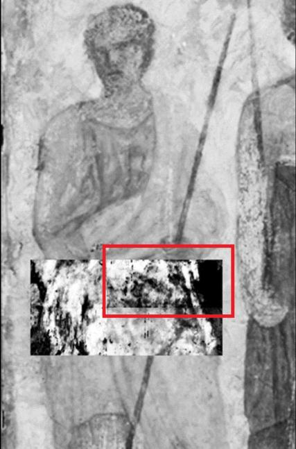 Terahertz rays unveil for the first time a hidden image (red box) of a man's face under the surface of a famous fresco, or mural, in Paris' Louvre Museum. (Credit: J. Bianca Jackson, Ph.D. and Dominique Martos-Levif)
