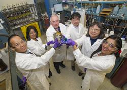 Wei-Fu Chen, Shweta Iyer, James Muckerman, Sasaki Kotaro, Etsuko Fujita, and Shilpa Iyer. Photo: Brookhaven National Laboratory