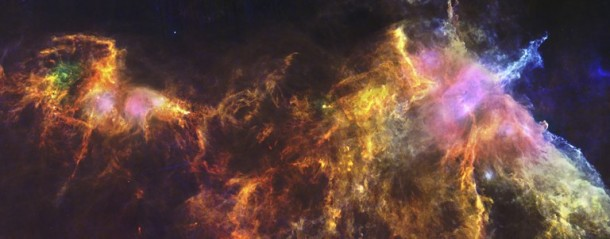 Herschel's image of the Orion Molecular Cloud with the Horsehead Nebula visible on the right side (Image: ESA)