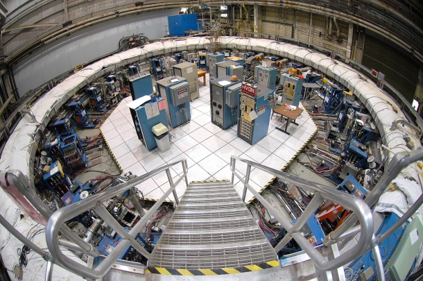 The Muon g-2 storage ring, in its current location at Brookhaven National Laboratory. The ring, which will capture muons in a magnetic field, must be transported in one piece, and moved flat to avoid undue pressure on the superconducting cable inside.