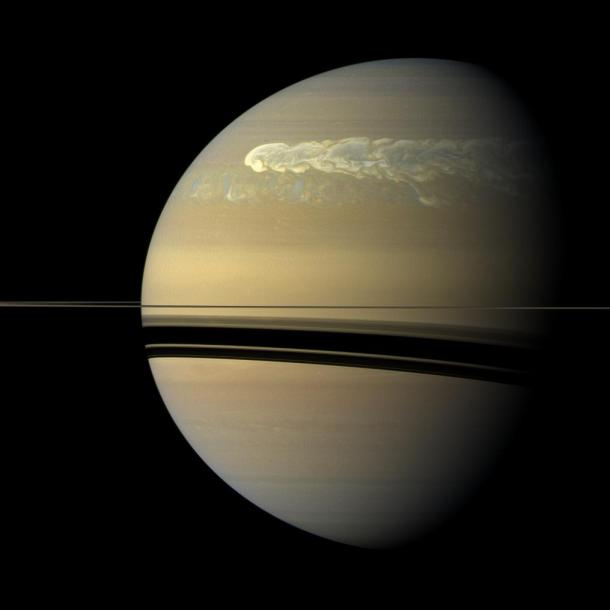 The great storm seen by Saturn